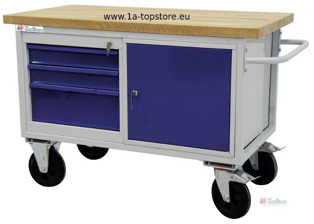 werkbank tischwagen auf rollen mit 3 schubladen schrankfach u buche. Black Bedroom Furniture Sets. Home Design Ideas