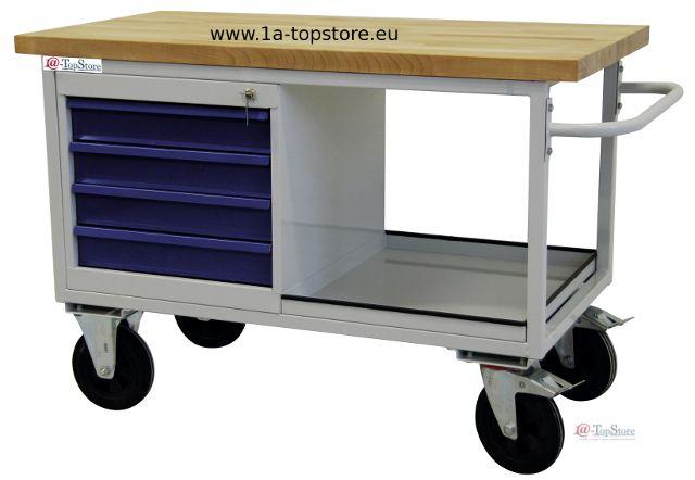 werkbank tischwagen auf rollen mit 4 schubladen ablagefach u buchen. Black Bedroom Furniture Sets. Home Design Ideas