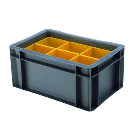 Euro-Format Stacking Container TK 300/145-B with 6 Insert...