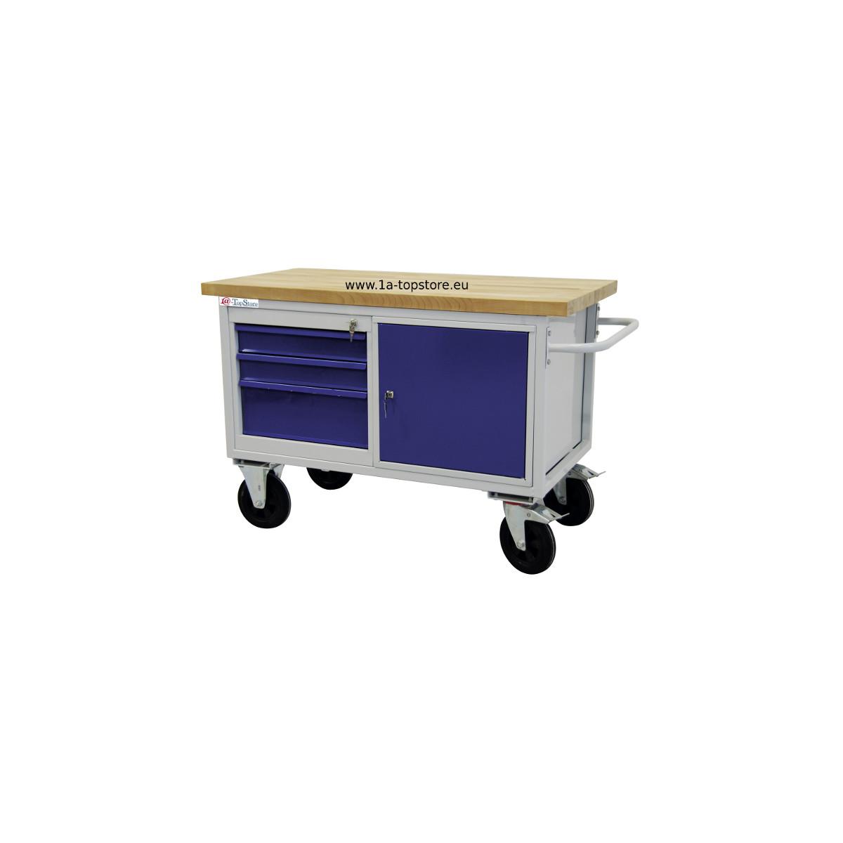 werkbank tischwagen mowa auf rollen mit 3 schubladen schrankfach u 530 67. Black Bedroom Furniture Sets. Home Design Ideas