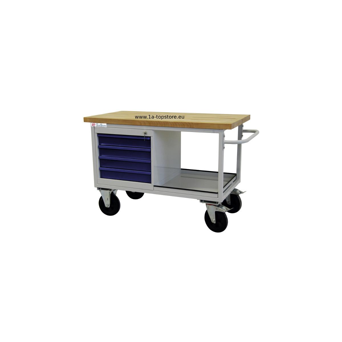 werkbank tischwagen auf rollen mit 4 schubladen ablagefach u buchen 384 00. Black Bedroom Furniture Sets. Home Design Ideas