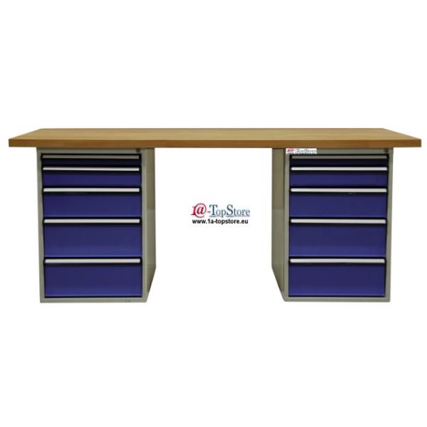 Werkbanktisch Mit 2 Schubladenschränken U Massiver Buchenholzplatte